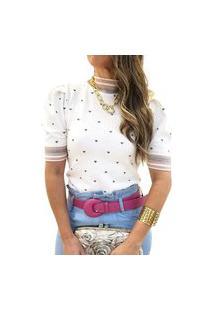 Blusa Tricot Modal Mania De Sophia Corações Off White