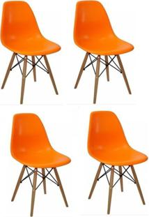 Kit 04 Cadeiras Facthus Eiffel Charles Eames Laranja