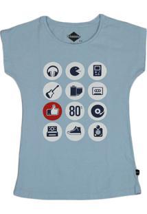 Camiseta Urbaninhos Meia Cava Old School Azul