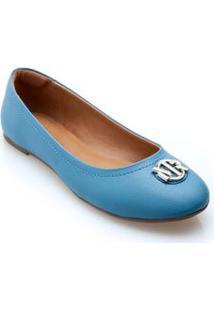 Sapatilha Bico Redondo Enfeite Personalizado Azul