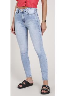 Calça Skinny Pull Up Feminina Sawary Super Lipo Cintura Alta Azul Claro