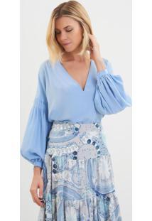 932bdc8d5 ... Blusa Le Lis Blanc Pregas Tainara Seda Azul Feminina (Hortência, 42)