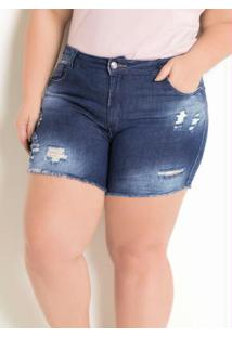 Short Plus Size Jeans Sawary Destroyed