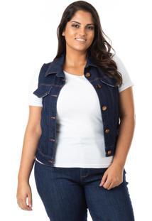 Colete Feminino Jeans Tradicional Plus Size - Tricae