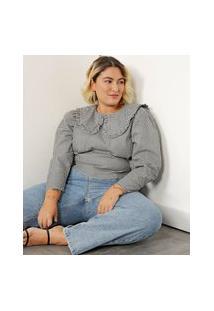 Blusa Cropped Estampada Xadrez Vichy Plus Size Manga Bufante Gola Boneca Com Babado Mindset Preta