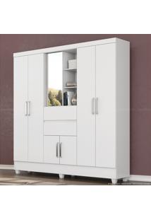 Guarda-Roupa 7 Portas 2 Gavetas Flex Color Capela Com Espelho Branco/Branco/Rosa - Demóbile