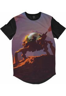 Camiseta Longline Insane 10 Sci-Fi Andando De Robô Sublimada Roxo Fosco