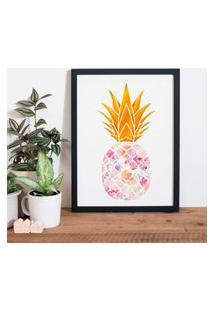 Quadro Decorativo Com Moldura Pineapple Flowers Preto - 30X40Cm