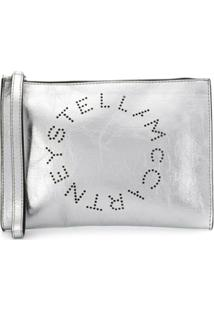 Stella Mccartney Clutch Com Logo - Prateado