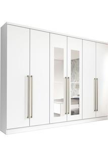 Guarda-Roupa Casal Com Espelho Premium 6 Pt Branco