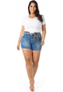 Shorts Jeans Tradicional Com Cinto Plus Size Confidencial Extra Feminino - Feminino-Azul