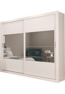 Guarda-Roupa Casal 2 Portas Com Espelho E 4 Gavetas Ipanema-Docelar - Branco / Preto