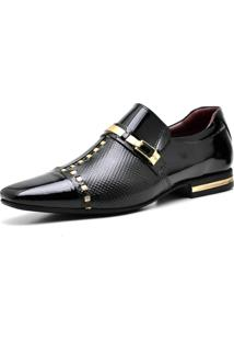 Sapato Social Gofer 12273 Preto E Dourado