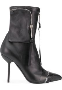 Unravel Project Ankle Boot Com Logo - Preto