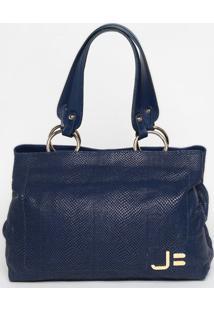 Bolsa Em Couro Snake - Azul Marinho- 28X50X13Cmjorge Bischoff