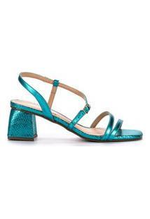 Sandália Em Couro Salto Bloco Metalizado Azul Turquesa