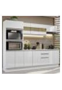 Cozinha Completa 100% Mdf Madesa Smart 250 Cm Modulada Com Balcão E Tampo - Frentes Branco Brilho