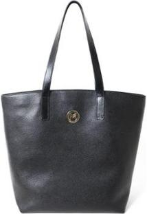 Bolsa Shopper Couro Mariart 5220 Feminina - Feminino-Preto