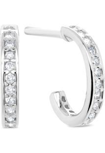 Argola Ouro Branco E Diamantes