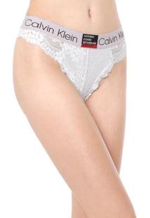 Kit 2Pçs Calcinha Calvin Klein Underwear Fio Dental Renda Branco/Rosa