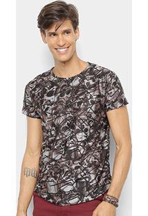 Camiseta Watkins & Krown Caveiras Masculina - Masculino-Marrom