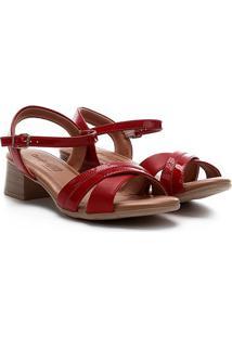 Sandália Comfortflex Salto Baixo Tira Cruzada Feminina - Feminino-Vermelho