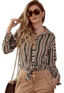 Camisa Mamorena Amarração Punhos Listrado Verde