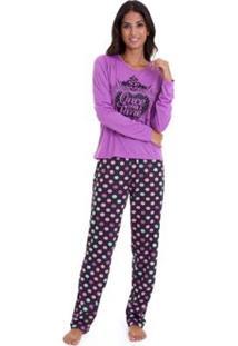 Pijama Longo De Inverno Luna Cuore Feminino - Feminino-Lilás