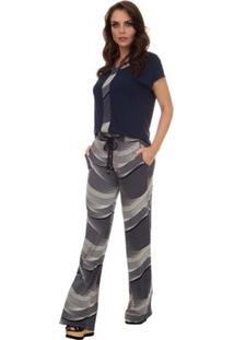 Calça Pau A Pique Pantalona - Feminino-Azul