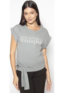 "Blusa ""Sustentável""- Cinza Off White- Colccicolcci"