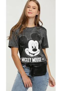 Blusa Feminina Brilho Estampa Mickey Disney