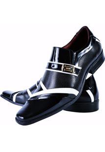 Sapato Social Verniz Gofer Masculino 0751L Preto Branco