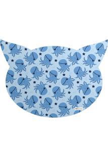 Tapete Pet Mdecore Cabeça De Gato Polvo Azul 54X39Cm