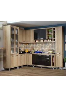 Cozinha Completa Com Balcão Sem Tampo 10 Peças 16 Portas Sicília Multimóveis Argila/Preto