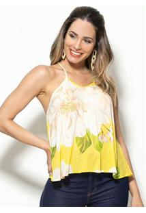 Regata Lurex Doce Flor Amarelo