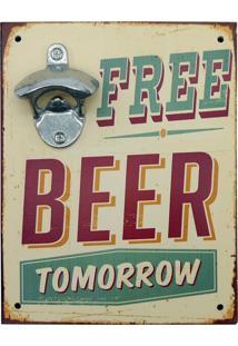 Abridor De Garrafa Parede Free Beer Kasa Ideia - Multicolorido - Dafiti