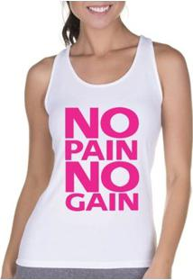 Regata Criativa Urbana Cavada Fitness Pain - Feminino-Branco