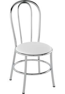 Cadeira Corino Branco/Cromado Pozza