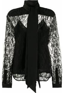 Givenchy Blusa Com Laço Na Gola De Renda - Preto