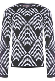 Blusa Masculina Tricot Zig Zag - Preto E Branco