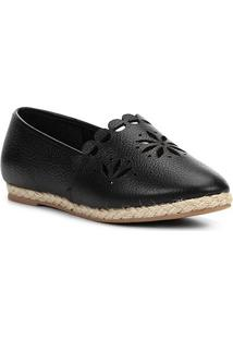 Sapatilha Couro Shoestock Espadrille Flat Flor Feminina