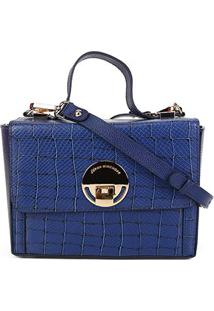 Bolsa Couro Jorge Bischoff Box Animal Mix Feminina - Feminino-Azul