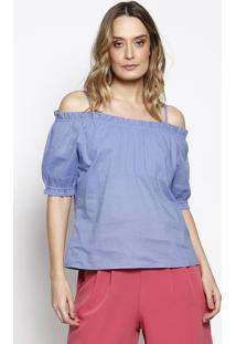Blusa Ciganinha Com Babados - Azulchocoleite