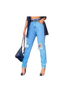 Calça Jeans Mon Com Cinto Azul