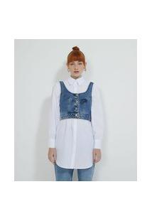 Blusa Cropped Jeans Com Recortes E Botões Frontais