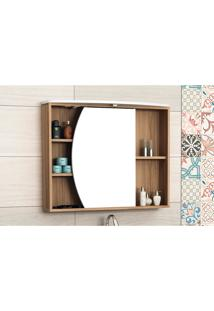 Armário Para Banheiro Com Espelho 80Cm Em Mdf Nogal/Branco