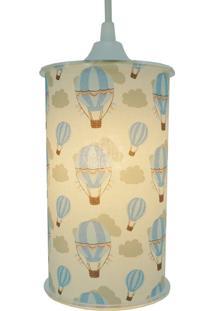 Luminária Pendente Cilíndrica Crie Casa Balões Azul