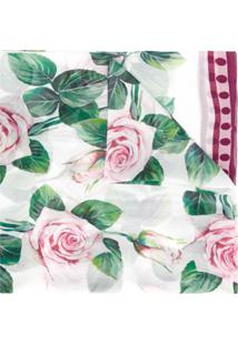Dolce & Gabbana Echarpe Com Estampa De Rosa - Branco