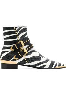 Versace Ankle Boot Com Estampa De Zebra - Preto