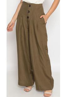Calça Pantalona Em Linho- Verde Escuro- Pacifc Bluepacific Blue